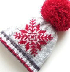 KNITTING PATTERN baby hat 4ply - snowflake hat - flat knitting