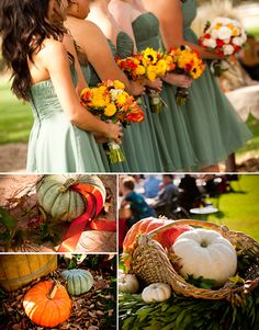 sunflowers, white roses, some purpley flowers and some greens.  Sound good?      Perfect colors for a fall wedding!