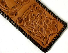 Vintage Western Leather wallet with tooled by honeyblossomstudio, $14.99