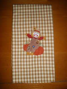 Halloween / Thanksgiving Scarecrow Embroidered by LynnsCozyQuilts, $8.99
