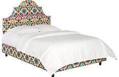 Vallie Green Floral Queen Bed