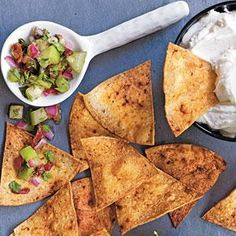 Adobo Chips with Warm Goat Cheese and Cilantro Salsa | MyRecipes.com