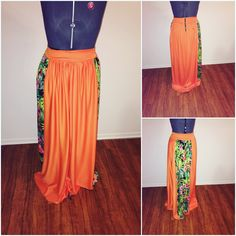 orange maxi skirt with a flare of a tropical print on side w/pockets