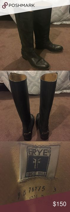 Frye riding boots Gorgeous fine leather Frye boots in a versatile distressed black color- can be dressed up or dressed down. Pretty metal detail on the heel. Hardly worn. Frye Shoes