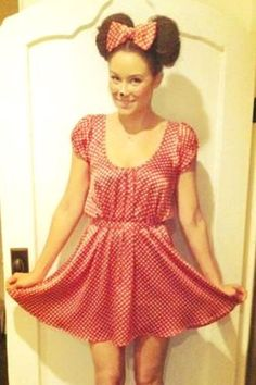 #TBT: Lauren Conrad's Favorite Halloween Costumes #refinery29  http://www.refinery29.com/lauren-conrad-halloween-costume-ideas#slide-5  Halloween 2011: Minnie Mouse This is a great, simple costume to create because you can wear a red dress you already own and just pick up your Minnie accessories! I had this dress custom made, but you can easily find a plain red or red with white polka dot dress. ...