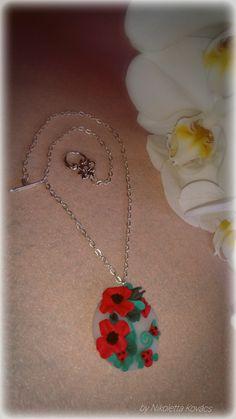 poppy fields-polymer clay pendant