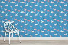Complete the tropical dreams and pour the charm and personality into any space in your home through this Pink and Blue Flamingo Wallpaper.