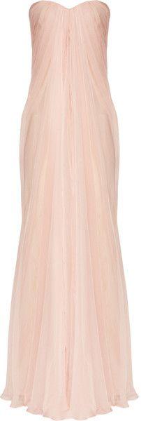 Alexander McQueen Silk Chiffon Bustier Gown.. Bridesmaid
