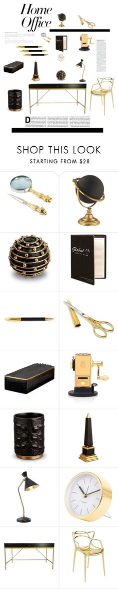 """Glam Office"" by brandikw on Polyvore featuring interior, interiors, interior design, home, home decor, interior decorating, Michael Aram, L'Objet, Sugar Paper and El Casco"