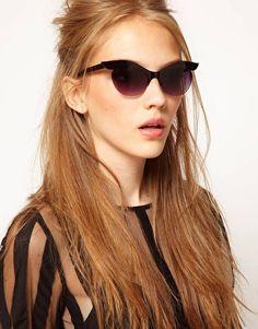 Enlarge ASOS Half Rim Highbrow Cat Eye Sunglasses