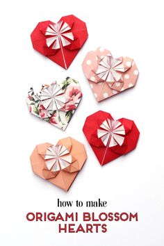 HOW TO MAKE ORIGAMI BLOSSOM HEARTS. Learn how to make a sweet origami blossom heart. This simple tutorial shows you how to make a pretty paper heart that's a lot easier than it looks How To Make Origami, Origami Tutorial, Origami Easy, Origami Paper, Origami Instructions, Diy Paper, Origami Boxes, Dollar Origami, Origami Stars