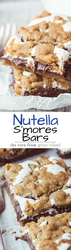 Nutella S'mores Bars ~ everybody's favorite summer treat in an ooey, gooey, decadent, and delicious bar, no campfire needed! Make a batch and watch them disappear before your eyes. | baking | summer dessert | kids dessert | easy recipe | Marshmallow Fluff | Nutella | Chocolate |