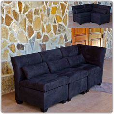 Milan Sectional Sofa In Black Faux Suede {Consists Of One Corner Piece And  Two Chairs