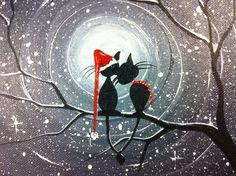 Original lunatique Cat Painting-A Moment in par MichaelHProsper