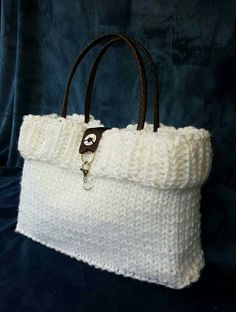 Knitted Bags, Straw Bag, Upcycle, Shabby Chic, Hand Painted, Handmade, Fashion, Bag, Moda