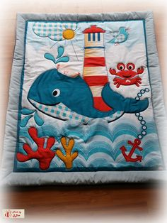 baby quilt with whale and light house. Baby Quilt Patterns, Baby Dress Patterns, Quilting Projects, Sewing Projects, Pirate Quilt, Baby Sheets, Cot Quilt, Diy Bebe, Elephant Nursery