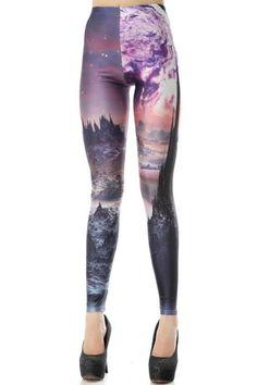 Landscape Print Skinny Leggings