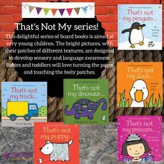 This delightful series of board books is aimed at very young children.  The bright pictures, with their patches of different textures, are designed to develop sensory and language awareness.  Babies and toddlers will love turning the pages and touching the feely patches.