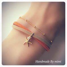 ハンドメイドマーケット minne(ミンネ)| Summer Suède Bracelet*orange×beige
