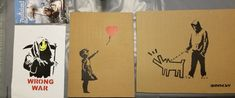 BANKSY Original Spray Art signed numbered Dismaland Free Art Souvenirs set of 3 Banksy, Free Art, Sign Art, Art, Settings