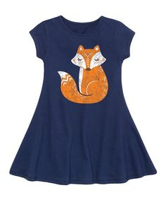 Instant Message Navy Fox Fit & Flare Dress - Toddler & Girls | zulily