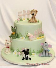 Little farm - Cake by grasie Buttercream Cake, Fondant Cakes, Cupcake Cakes, Pretty Cakes, Cute Cakes, Bicycle Cake, Farm Cake, 1st Birthday Cakes, Animal Cakes
