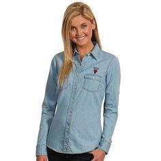 Women's Antigua Chicago Bulls Chambray Shirt, Size: Medium, Med Blue