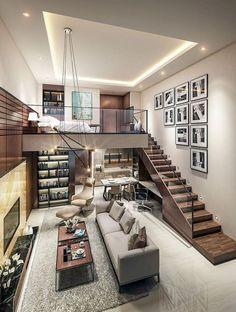 Loft House Design, Small House Interior Design, Modern House Design, Design Of Home, Modern Houses, Duplex Design, Industrial Interior Design, Industrial Interiors, Industrial House
