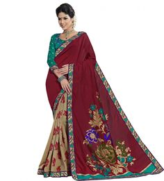 Attractive Looking Multi Colour Nylon Silk Designer Saree