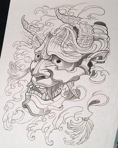 Hannya Maske Tattoo, Oni Mask Tattoo, Hanya Tattoo, Japanese Snake Tattoo, Japanese Tattoo Designs, Japanese Sleeve Tattoos, Tattoo Outline Drawing, Tattoo Drawings, Body Art Tattoos