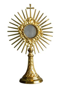 Custodia en metal dorado con rayos y Cruz / A monstrance, also known as ostensorium, is the vessel used in churches to display the consecrated Eucharistic host, during #Eucharistic adoration or Benediction of the #BlessedSacrament. (3/3). http://www.articulosreligiososbrabander.es/custodia-del-santisiomo-en-metal-dorado-con-rayos-y-cruz.html #Corpus #CorpusChristi #Procesion