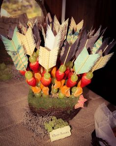 """""""Elven Arrows"""" - fruit skewers for an Enchanted Forest Party Perfect woodland cake, baby shower and birthday decorations ideas, with wood and forest animal theme. Cheap, DIY & Editable Printable Template for wedding and baby shower - CLICK & TRY FOR FREE! Tribal Baby Shower, Baby Boy Shower, Arrow Baby Shower, 1st Birthday Parties, Girl Birthday, Birthday Ideas, Birthday Decorations, Fruit Birthday, Pocahontas Birthday Party"""