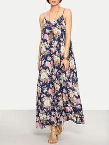 Vestido floral tirante fino maxi -multicolor