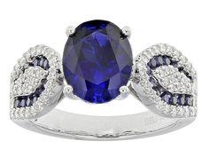 Bella Luce (R) 3.12ctw Sapphire & White Diamond Simulants Rhodium Over Sterling Silver Ring