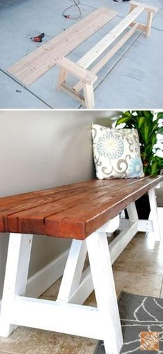 15 DIY Entryway Bench Projects • Tons of Ideas and Tutorials! Including, from 'home depot', a great step by step tutorial on how to build this farmhouse bench. by allisonn
