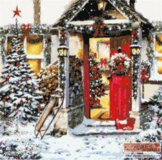 Open door christmas cross stitch kit | Yiotas XStitch