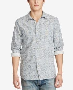 Denim & Supply Ralph Lauren Men's Cotton Oxford Workshirt - Blue Floral 2XL