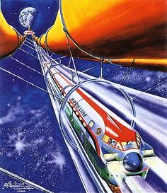 Shigeru Komatsuzaki - Space train, 1981. / The Science Fiction Gallery
