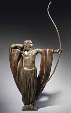 Art Deco The Archer Patinated and Gilt Bronze Statue (c.1930) by Alexandre Kéléty, France