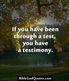 ✞ ✟ BibleGodQuotes.com ✟ ✞  If you have been through a test, you have a testimony.
