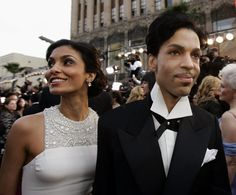 Prince arrives with his wife, Manuela Testolini, for the 77th Academy Awards on February 27, 2005 in Los Angeles. He was a presenter during the Oscars telecast.  Prince was married to Mayte Garcia from 1996 to 2000 and then Testolini from 2001 to 2006.  Credit: Kevork Djansezian/AP
