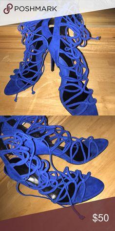 Laced up heeled sandal Royal blue, criss-crossed laced heeled sandal Zara Shoes Sandals
