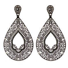 JJ Caprices - Black Filigree Drop Earrings by LK Designs