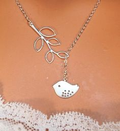 Bird Necklace  Branch  Lariat  White Gold by LadyKJewelry on Etsy, $19.99