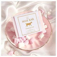 How cute is this ombré pink Strawberry  Marshmallow soap from @themilkbarsoapcompany it smells so nice! ☁️ They are a luxury handmade soap company and are really affordable  P.S you can also get 10% off with the code MILK10