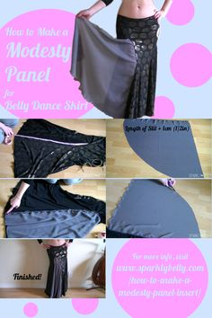 How to Make a Modesty Panel / Insert for Belly Dance Skirts - SPARKLY BELLY