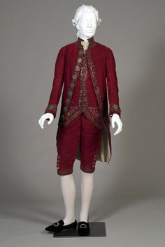 A Closer Look at an 18th-Century Suit -  This magnificent red silk velvet suit from the 1770s had been in our (Kent State University Museum) Fashion Timeline exhibition for the past several months but, we recently took it off exhibit. The textile is a remarkable textured velvet and it is  trimmed with silver embroidery and sequins. (click through for more detailed photos)
