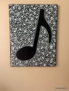 "Music Quaver 8th Note DOT Acrylic Painting 12"" x 16"" Canvas Art picture Hand Painted FREE SHIPPING Musical Eighth Symbol Black White Gray by CanvasCoveArt on Etsy"