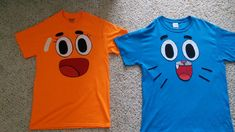 These are the two Amazing World of Gumball T-shirts I made for Halloween. They're were the best costumes in my neighborhood. Since I ran out of time to buy the real t-shirts shopgoodie.com/the...