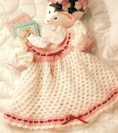 X977 Crochet PATTERN ONLY Love Knot Baby Dress for your Valentine Baby